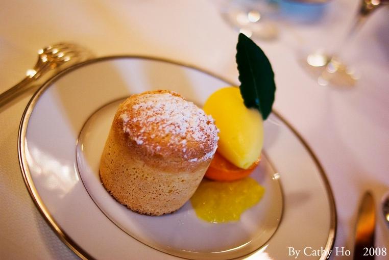 Biscuit chaud et sorbet à la mandarine