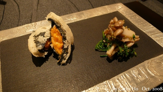 """Deep fried seaweed, stuffed with sea urchin"""