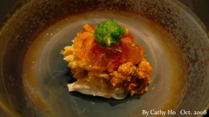 Blue swimming crab and Shanghai crab topped with chrysanthemum gelee