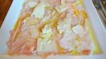 Carpaccio de Veau élevé sous la mère, parmesan bio 36 mois et huile d'olive extra vierge